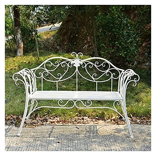 Banco al aire libre Banco de patio, muebles de porche delantero, banco de jardín de metal, banco de silla doble de hierro forjado de campo, decoración de patio de jardín de villa, banco de parque
