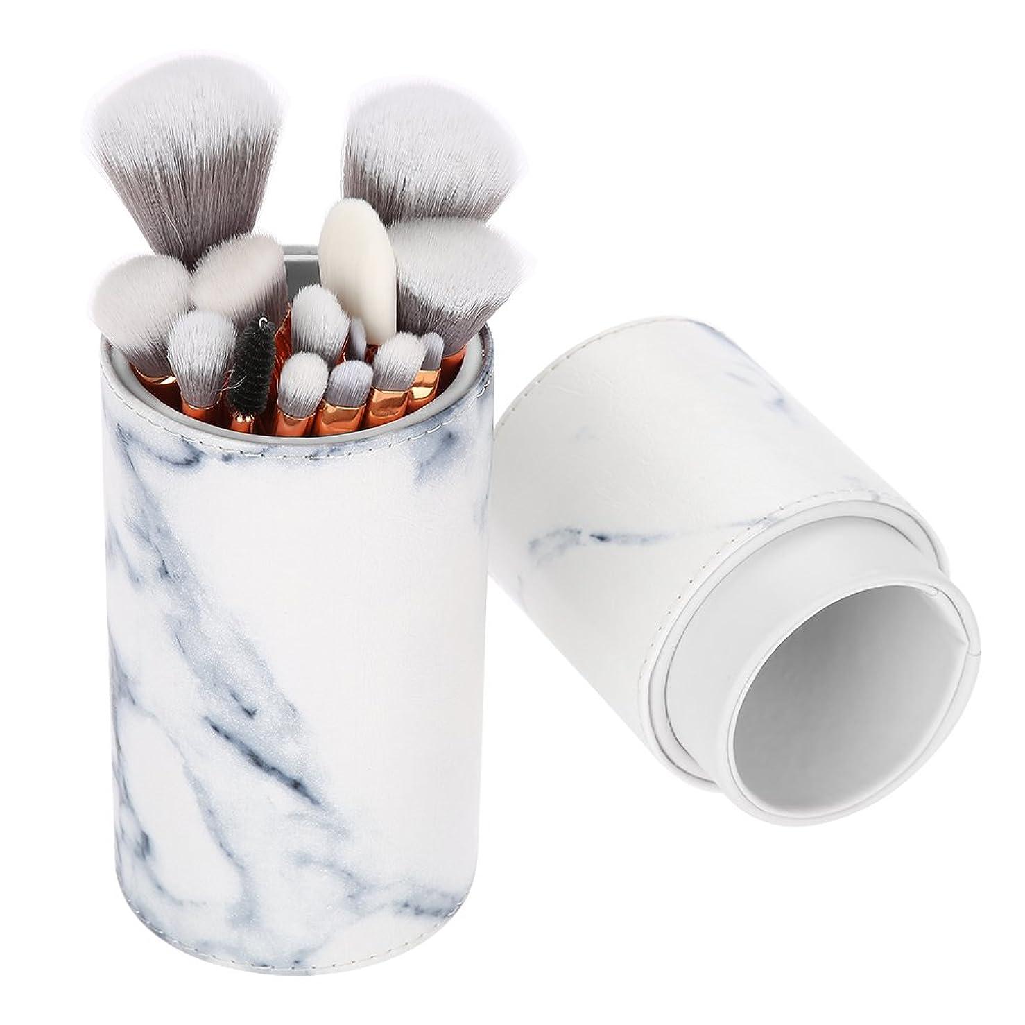 転用葉っぱファブリック15本 メイクブラシ、大理石柄化粧筆 粉、フェイスブラシ 化粧品ブラシ 大理石の模様 高級繊維毛 アイブラシセット 収納ボックス