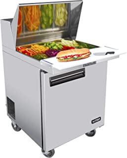 KITMA Single Door 28 Inches Sandwich Prep Cooler - 7.15 Cu. Ft Stainless Steel Salad Prep Station Table Refrigerator with Cutting Board and Pans, 33 °F - 38°F