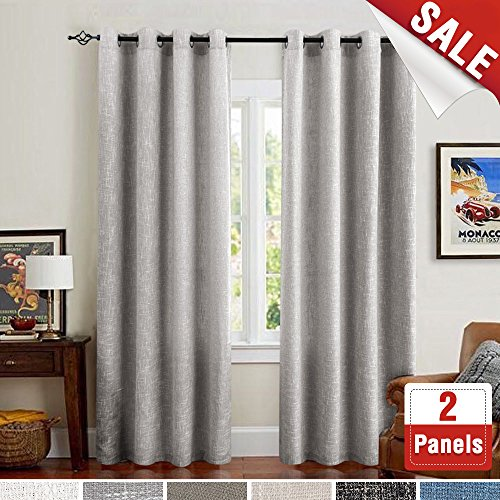 jinchan Grey Linen Cotton Curtains for Living Room Window Treatment Set of 2 Panels for Bedroom Drapes Grommets Top (52