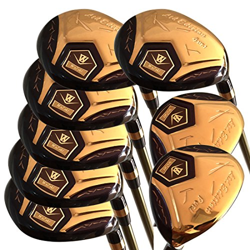wazaki Japan 14K Gold Finish Cyclone 4-SW Mx Steel Hybrid Irons Golf Club Set,Met Headcover,Regular Flex,Gold Graphite Shaft,Right Handed,Pack van 16