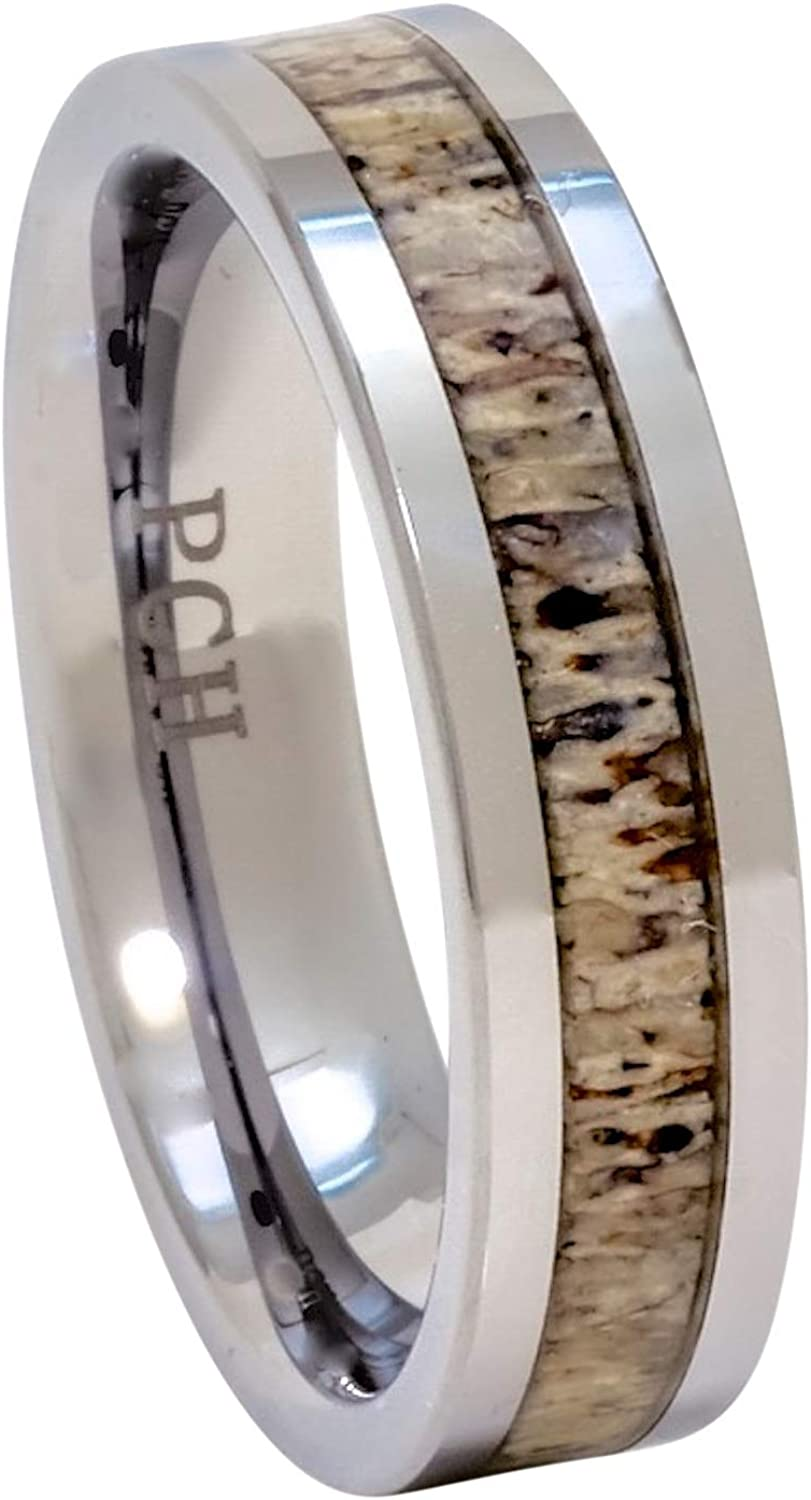 PCH Limited price New arrival Jewelers Deer Antler Ring Tungsten Flat 6mm Top Wedding Band