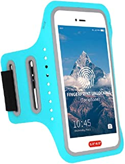 Arm Bands for Cell Phone iPhone Armband Men Running, iPhone Armband Women Running for XR iPhone 7 Plus Workout Armband iPhone X Running Armband,Phone Armband with Fingerprint Touch ID,Key&Card Holder