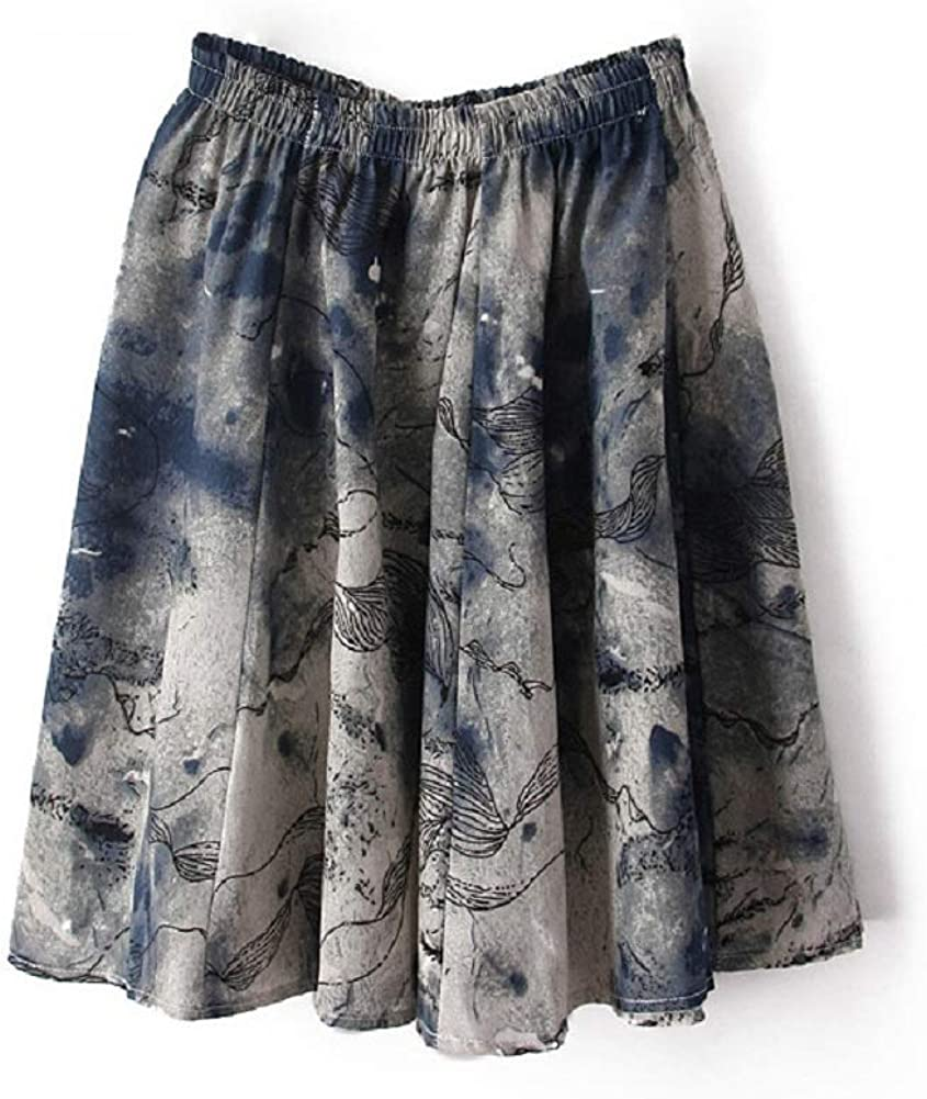 Women' Linen Floral Pleated Skater Casual Swing Mini Skirt (Style7)