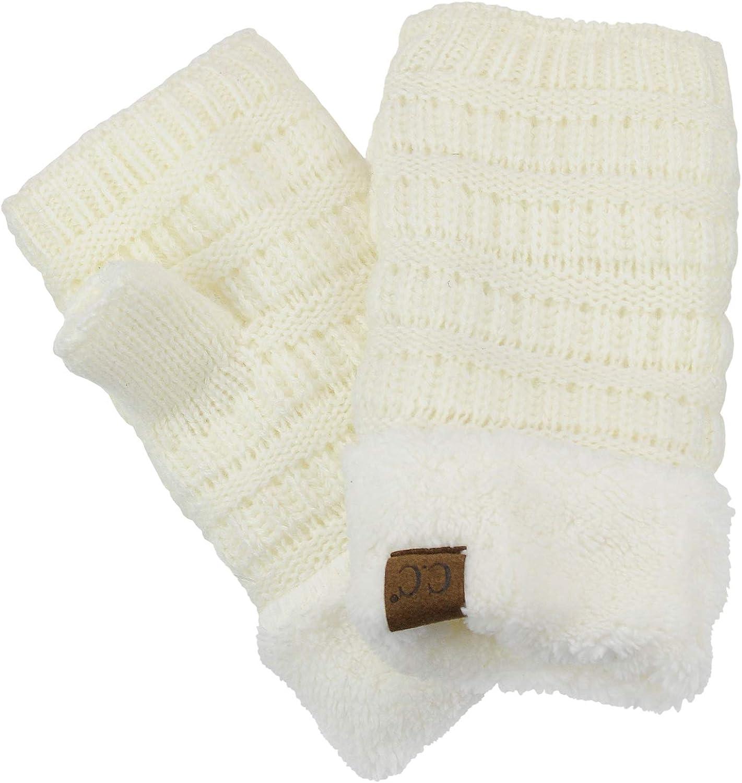 C.C Women's Warm Knit Fingerless Half Finger Fleece Lined Winter Gloves
