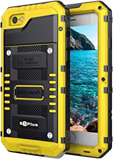 Mitywah Waterproof Case for iPhone 6 Plus, iPhone 6s Plus Heavy Duty Military Armor Metal Case, Complete Protective Shockproof Dustproof Strong Rugged Thick Case for iPhone 6 Plus/ 6s Plus, Yellow