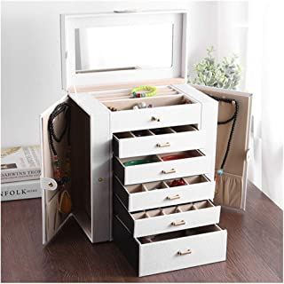 Songlin@yuan Multi-Layer PU Jewelry Box Cabinet Storage Cosmetic Case Girl Woman Gift Lock Mirror Portable Large Capacity (Color : Brown)