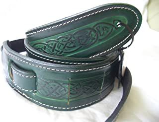 Green Celtic Design Real Leather Guitar Strap