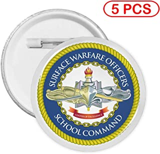US Navy Surface Warfare Officer Button Pin Round Badge Circle Brooches 5 PCS S