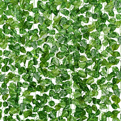 Artificial Ivy Garland Fake Plants Room Decor 6.8 Ft Fake Ivy Vine with Green Foliage Faux Hanging Garland Vines Plants Ornament for Wedding Home Balcon Office Garden Party Green Melon-4 pcs