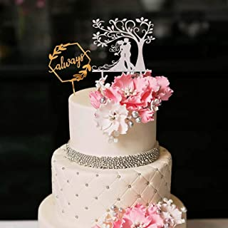 YUINYO Always and Forever Wedding Cake Toppers Bride and Groom Rustic Wedding Decorations Wooden Bridal Shower, Vow Renewal,MR&MRS,Wedding Cheers Party Decoration Supplies