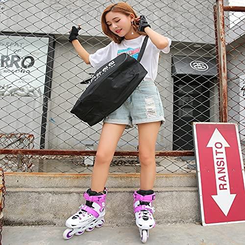 Single row light skates Single Row Light SkatesBlack/blue/purple/white/black Gold/platinum Roller Skates, Children's Fun Roller Skates, Boys And Ladies Beginner Skates (Color : Purple, Size : 43)