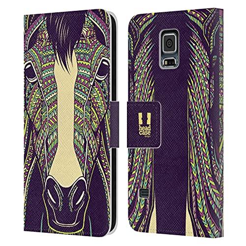 Head Case Designs Cavallo Volti di Animali Aztechi Cover in Pelle a Portafoglio Compatibile con Samsung Galaxy S5 / S5 Neo