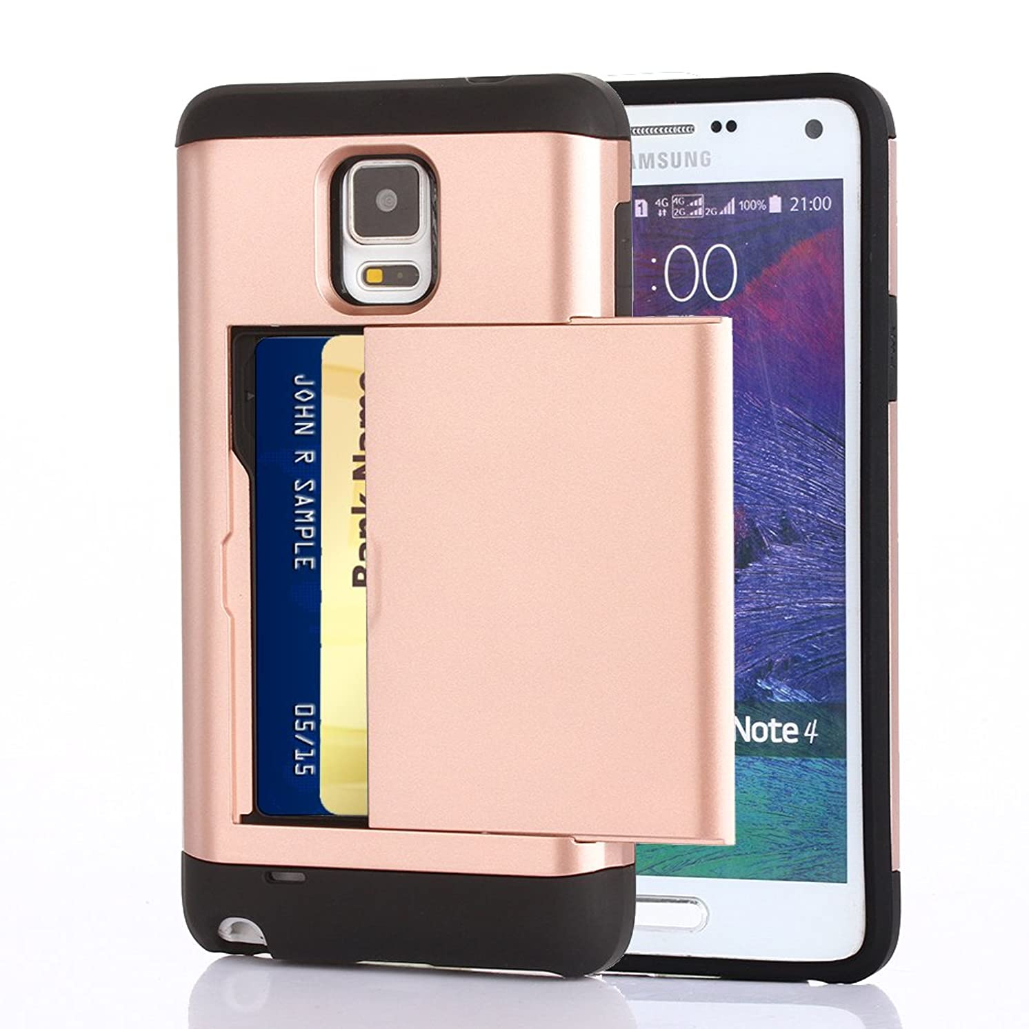 Galaxy Note 4 Case, CaseTop [Easy Card Access] Sliding Back Door Card Holder Wallet Case - Hybrid TPU PC Cover - For Samsung Galaxy Note 4, Rose Gold
