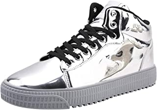 DGG7 Men's Casual Shoes Couples Colorful Mirror Trend Sneakers Nightclubs Sequins High-Top Shoes