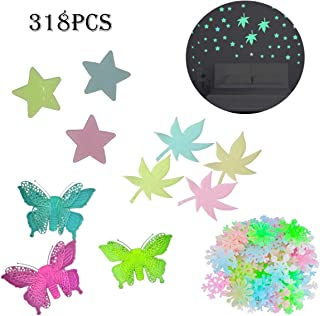 318Pcs Glow in The Dark Stars Bright Glowing Snowflake Butterfly Maple Leaves Wall Stickers Cooyeah Multicolor Luminous Decor for Kids Bedroom Living Room Ceiling Decal Gift