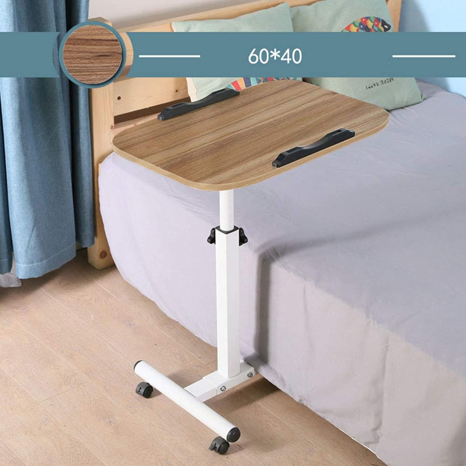 Laptop Cart Table,Height Adjustable Mobile Stand Desk,Rolling Tilting Overbed Table Stopper Ledge Bedside Writing Computer Table-d 60x40cm(24x16inch)