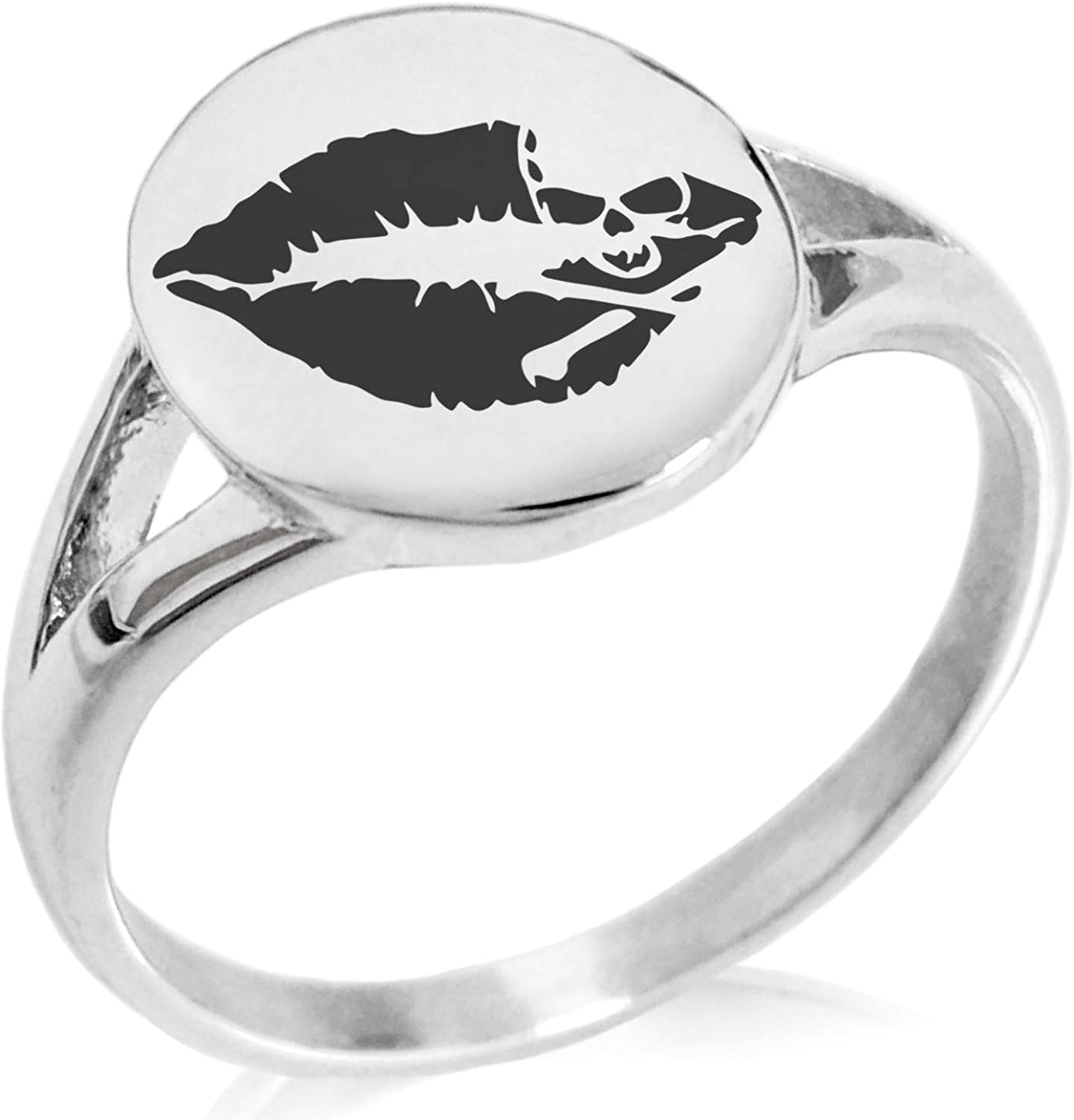 Tioneer Stainless Steel Skull & Crossbones Kiss of Death Minimalist Oval Top Polished Statement Ring