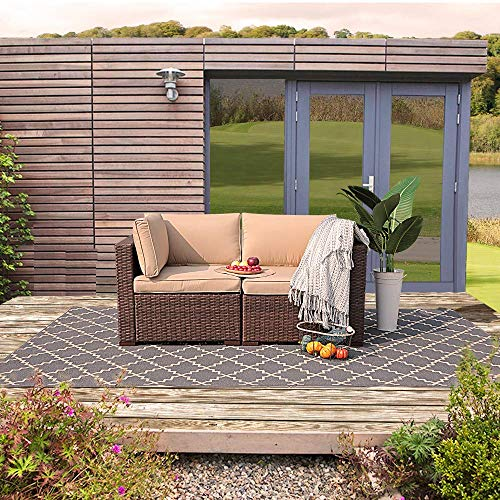 Patiorama Outdoor Loveseat, All Weather Rattan Loveseat Dark Brown Wicker Chairs, Additional Extra...