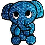 Azul del elefante Zoo 5.9 x 6.4 cm - Parche Parches Termoadhesivos Parche Bordado Parches Bordados Parches Para La Ropa Parches La Ropa Termoadhesivo Apliques Iron on Patch Iron-On Apliques