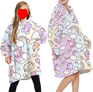 Draagbare deken Sweatshirt Hoodie voor vrouwen en mannen meisje jongen oversized dubbele fleece pluche cartoon capuchon to...