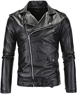 Comeon Mens Leather Jacket Causal Belted Design Slim Lapel Collar Biker Zipper Coat Black Motorcycle Jackets