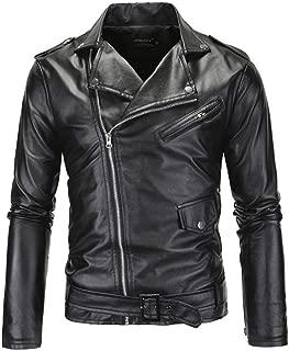 Men's PU Leather Jacket Long Sleeve PU Leather Coat Biker Jacket Black Leather Trench Coat Zipper Slim Punk Jacket