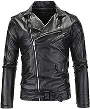 Comeon Mens Leather Jacket Causal Belted Design Slim Lapel Collar Biker Zipper Coat Black Motorcycle Jackets