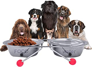 The DDS Store Double Diner Pet Bowls Cups, Stainless Steel Food Water Bowls Bunny Feeder Coop Cups with Non Slip Feeding S...