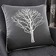 Fusion - Woodland Trees - 100% Cotton Filled Cushion - 43x43 cm in Charcoal