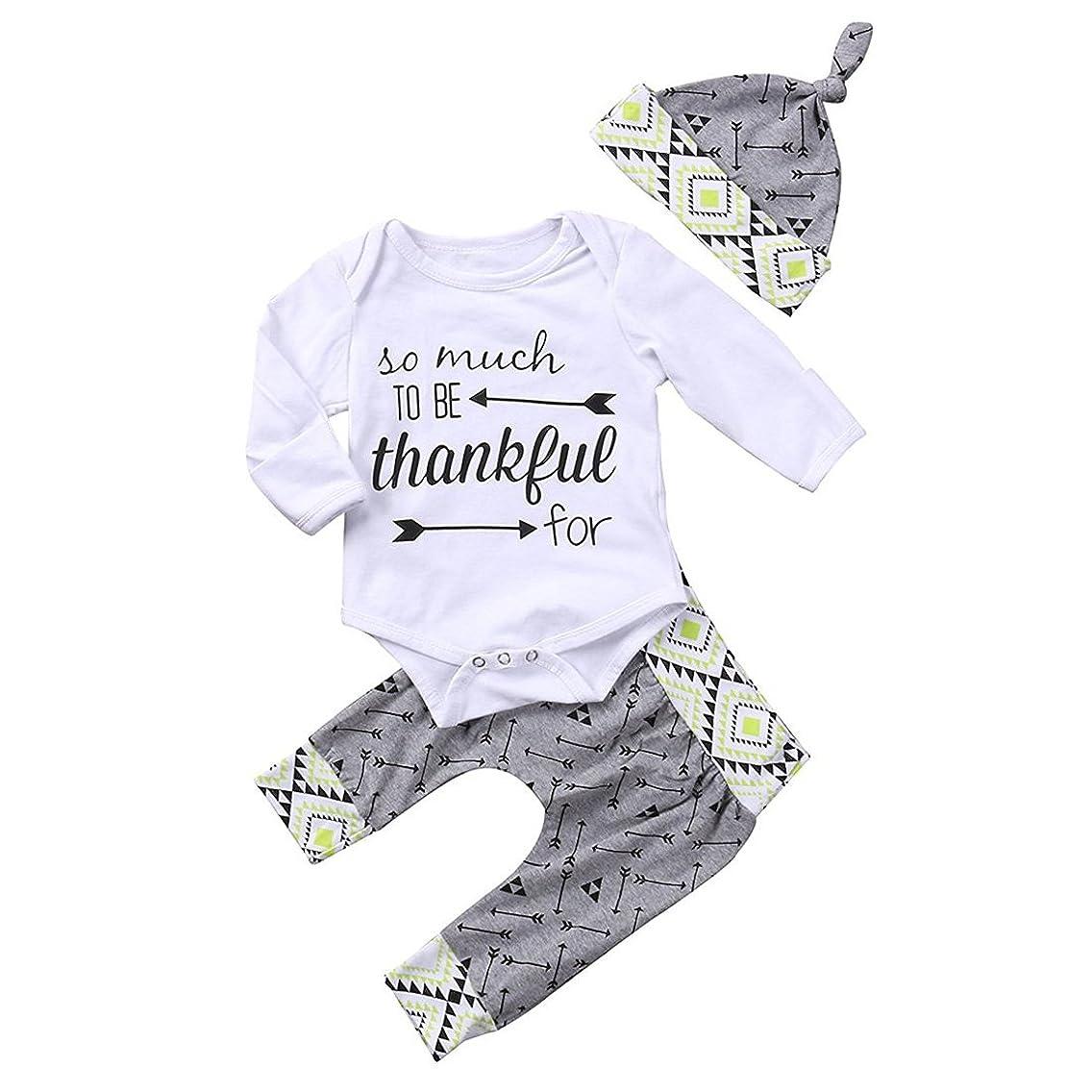 GRNSHTS Baby Boys Girls 3Pcs Thanksgiving Long Sleeve Pant Set Letter Print Romper + Arrow Pants + Hat