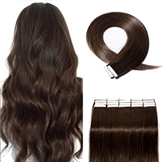 SEGO 40 Pieces Rooted Tape in Hair Extensions Human Hair Seamless Skin Weft 100% Real Remy Invisible Tape Hair Extensions Straight Double Sided 18 inches #02 Dark Brown 100g