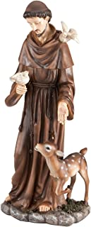 """Fox Valley Traders St. Francis of Assisi Decorative Garden Statue, Weather-Resistant Resin, 16"""" High"""