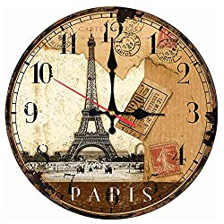 Wall Clock Art Wall Clock Wooden Clocks Quartz Watch Modern Home Decoration Living Room New Single Face Stickers Still Life Style Suitable for Library Bathroom