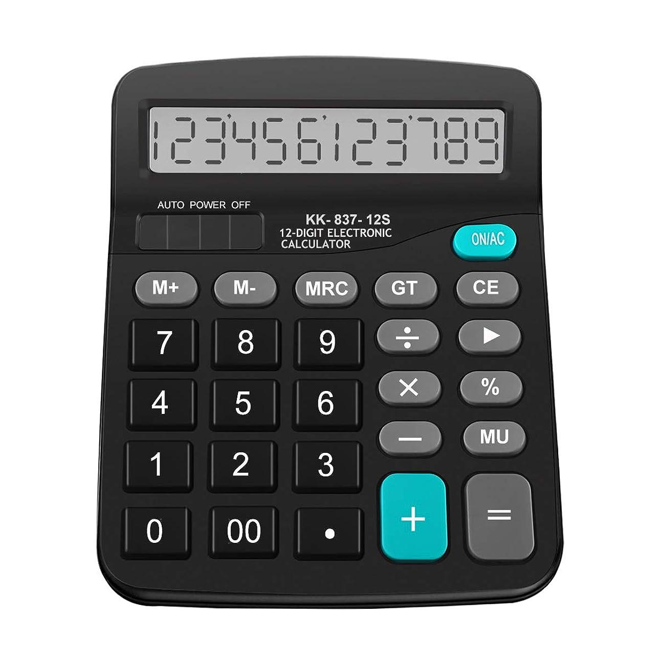 現実にはパック謝罪するHautoco 標準機能 電卓 基本デスク電卓 学校 オフィス ソーラー 単三電池電源 12桁 大型液晶ディスプレイ