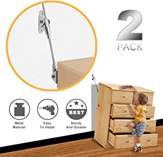 2 Pack Childrens Home Furniture Wall Anchors for Baby Proofing, Metal Anti Tip Baby Furnitures Safety Earthquake Straps for Bookcases, Child Proof Cabinet Bookshelf TV Dresser Protection Anchoring Kit