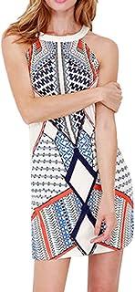 レディース ワンピースドレス Hodarey 女性 夏女性ファッションOネック幾何学 デジタルプリントドレス 膝丈 女性ドレス ワンピース レディースチュニックワンピース 可愛いミニワンピースパーティードレス彼女へのプレゼント日常着 通勤 リゾート デート