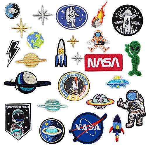 MIWIND Lot de 25 écussons thermocollants brodés pour vêtements Motif astronaute