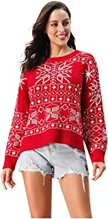 charmsamx Womens Reindeer Printed Christmas Ugly Sweater Crewneck Long Sleeves Mosaic Knit Short Pullover Tops Slim Fit Xmas Girls Jumpers
