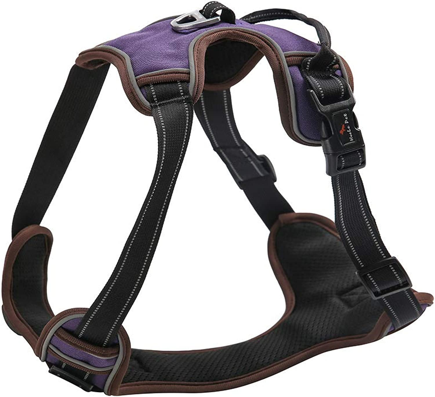 Dog Harness, Easy On and Off with Front and Back Lead Attachments & Control Handle, Size Adjustable,Reflective