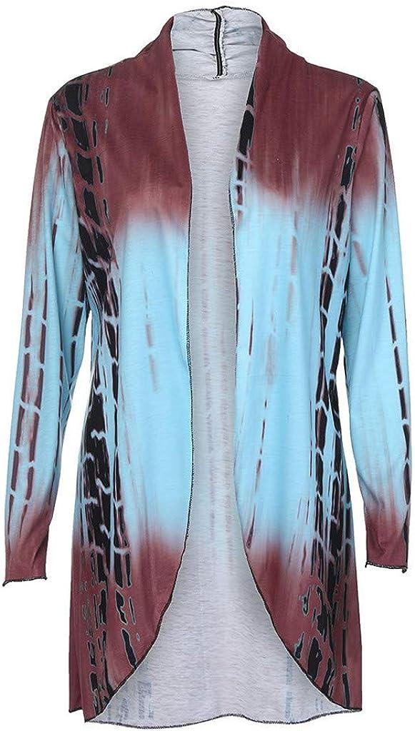 Gofodn Mantel für Frauen Übergröße, Damen-Kleidung, Jacke, Cardigan mit Farbverlauf, asymmetrisch, langärmlig, S-5XL Blau