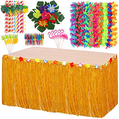 Vicor Hawaiian Tropical Party Decoration Set,Hawaiian Grass Table Skirt,Flower Garland Pineapple and Flamingo Cupcake for Hawaiian Themed Beach Party