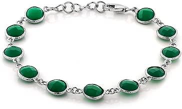 Gem Stone King 925 Sterling Silver Green Onyx Tennis Bracelet Round Checkerboard Cut 25.00 Carat 7 Inch +1 inch