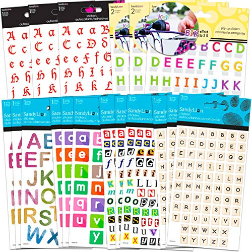 Alphabet Stickers Typewriter Letter Stickers Set Bundle - 18 Pack Typewriter for Scrapbooking Lettering Stickers for Kids (Typewriter Scrapbook Sticker Supplies)