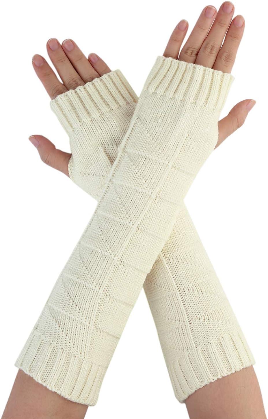 Allegra K Women Winter Christmas Fingerless Thumbhole Elbow Length Knitted Gloves Arm Warmer