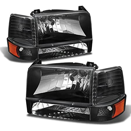 DNA Motoring HL-LB-F15092-6P-BK-SM Smoked Dual LED Running Light Bar Headlights Replacement For 92-96 F150-350 Bronco
