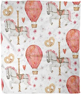 Suike Throw Blanket 60x80 Inches Luxury Flannel Romantic Autumn Watercolor Carousel Horse Air Microfiber Print Soft Cozy Warm Wrinkle Resistant Couch Bed Throws Sofa