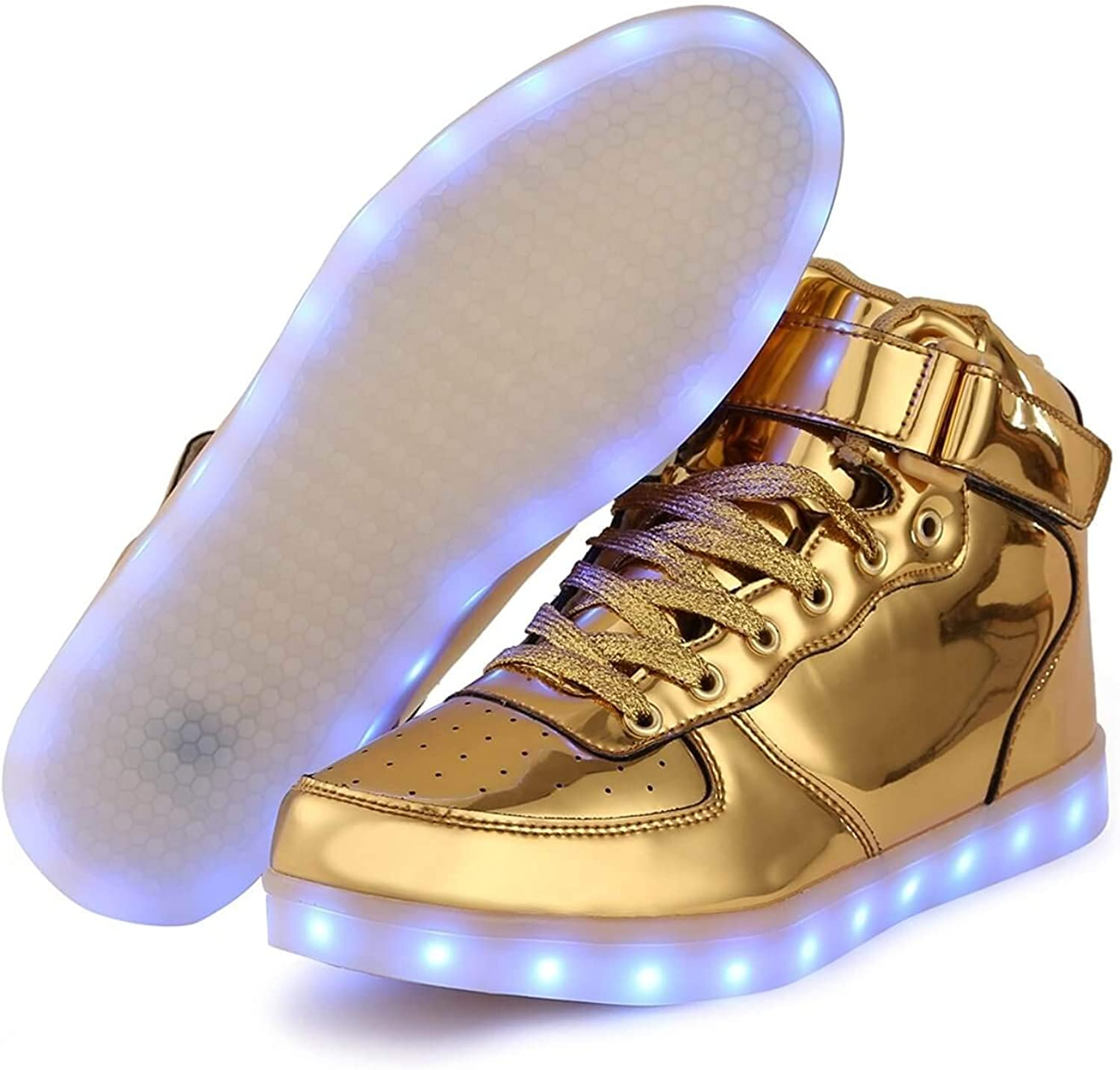 Light up Trainers Gold Silver High Top