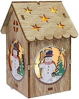 UerBone - Luminous Cabins Pendant Light Wooden Dolls House Villa Christmas Ornaments Xmas Tree Hanging Decor [ B ]