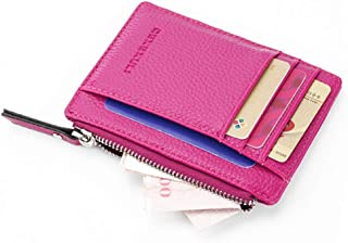 HENGSONG Wallet Mini PU Leather Card Holders Purse Men Women Zipper Coin Pocket Ultra Thin Multi-function Storage Bag,Rose...